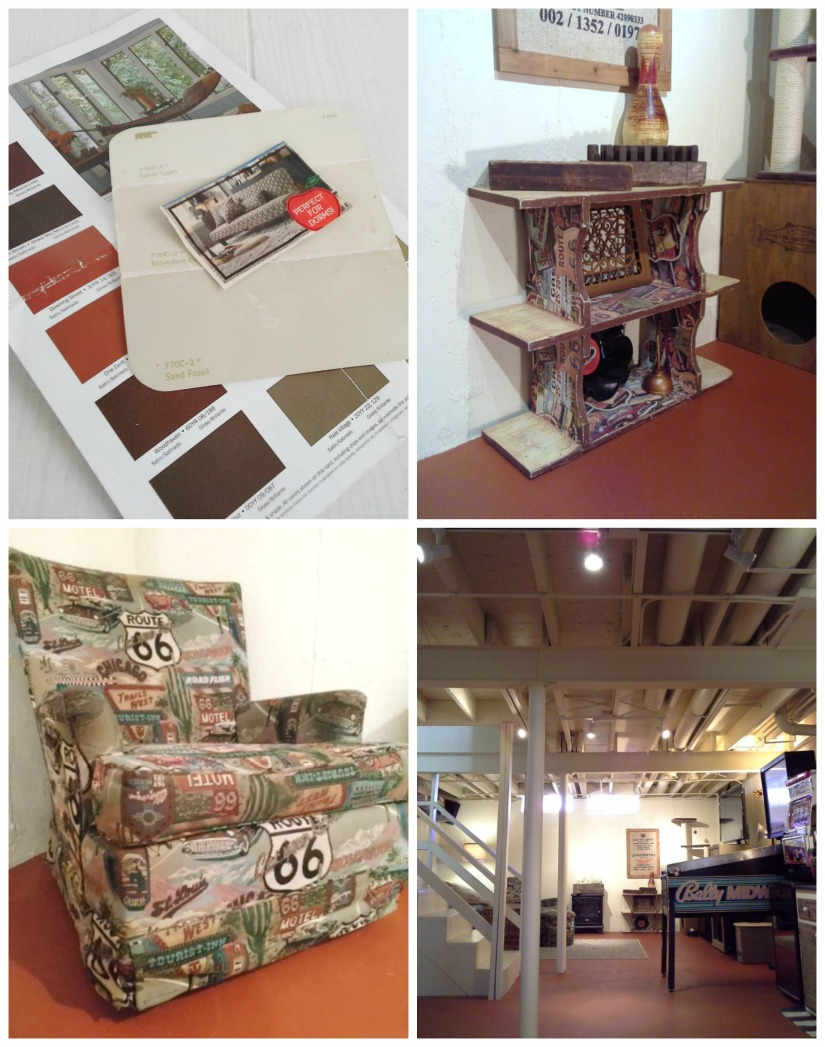 """Updating a basement inexpensively with an exposed painted ceiling, painted vinyl floor and the """"use what you have"""" decorating approach for all of the furnishings and decor - StowandTellu.com"""