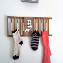 Lost or missing sock laundry sign from a wooden dish rack repurpose - Til We Meet Again - StowandTellU.com