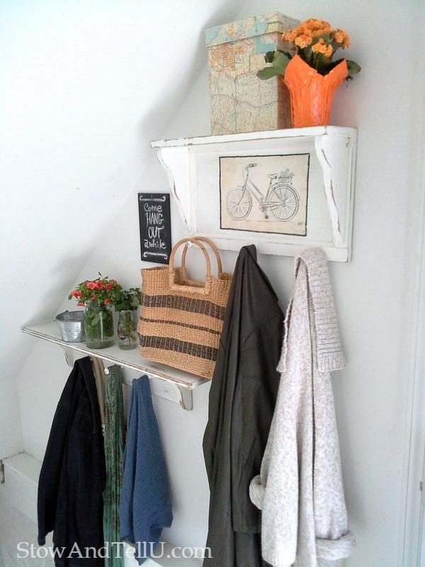 stairway-storage-upcycled-coat-rack-shelves-StowAndTellU.com
