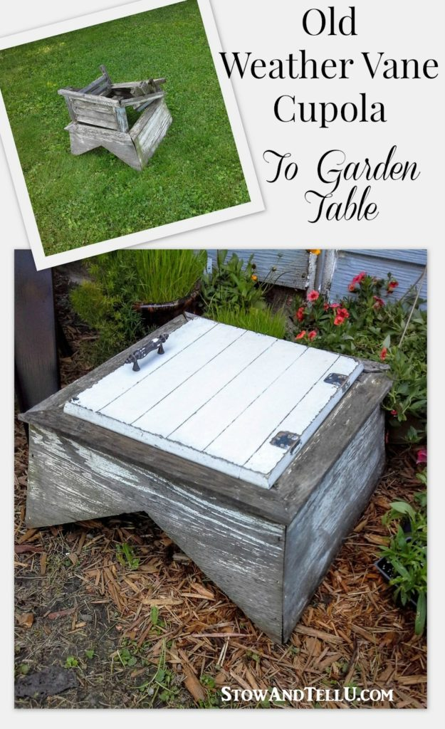 A garden table repurposed from an old weather vane cupola and a cabinet door - diy-table-garden-furniture - StowAndTellU.com