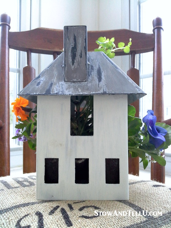 Turn a miniature house or bird house into a planter. Nice for porch or patio, great gift idea - birdhouse-planter - StowAndTellU.com