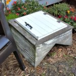A garden table upcycled from an old weather vane cupola and a cabinet door - StowAndTellU.com