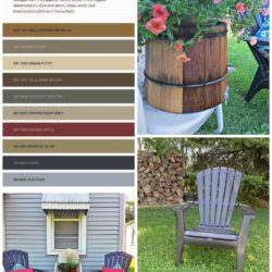 Pulling inspiration from your yard and blue house accent colors for a vinyl sided small cottage using the Nouveau Narrative collection - StowandTellU
