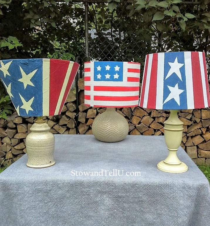 fourth of july ideas decorating outdoor space - stars and stripes solar table lamps - StowandTellU.com