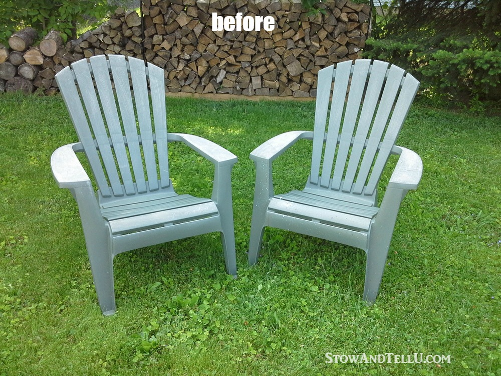 Yardworkation 1 spray paint and plastic lawn chairs stow tellu - Green resin adirondack chairs ...