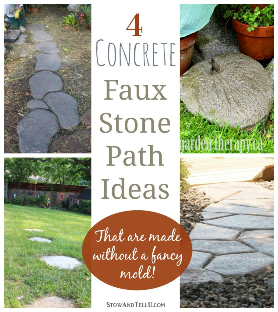 There's no fancy mold needed for laying these faux stepping stones. Four concrete free pour, hand shaped stone path ideas four your yard or garden. - StowAndTellU.com