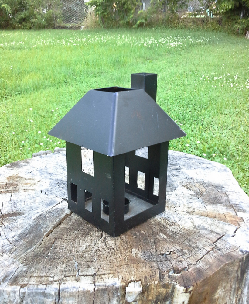 upcyled-miniature-house-punch-tin-lantern - metal-black-tealight-miniature-house - StowandTellU.com