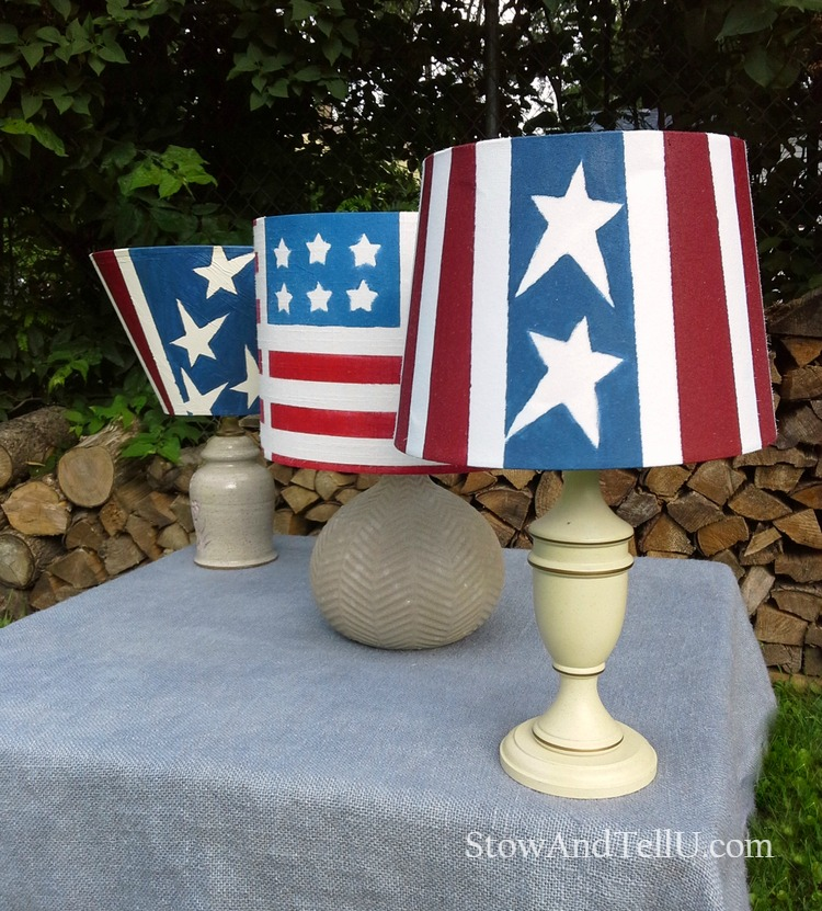 Old table lamps are painted red, white and blue and turned into patriotic outdoor solar lamps - StowAndTellU.com