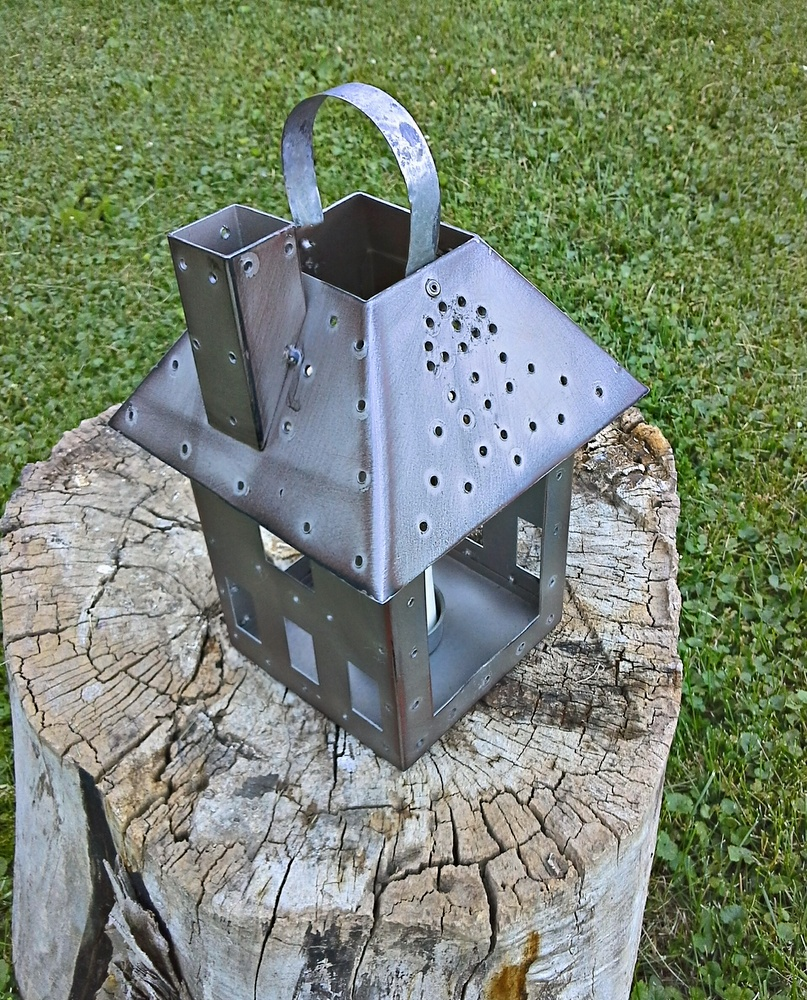 punched-tin-lantern-metal-bird-house - StowAndTellU.com
