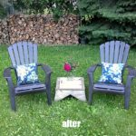Tutorial for spray painted plastic lawn chairs with a tip for making an easy spray paint booth with cardboard - garden, yard work, yardworkation - StowAndTellU.com