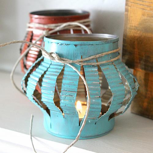 7 diy faux punched tin lantern ideas stowandtellu - Diy tin can ideas ...