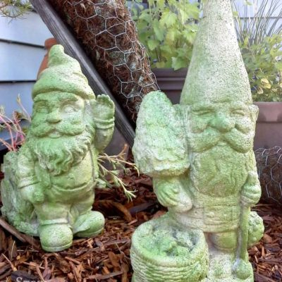 Faux Cement and Moss Painted Garden Gnomes