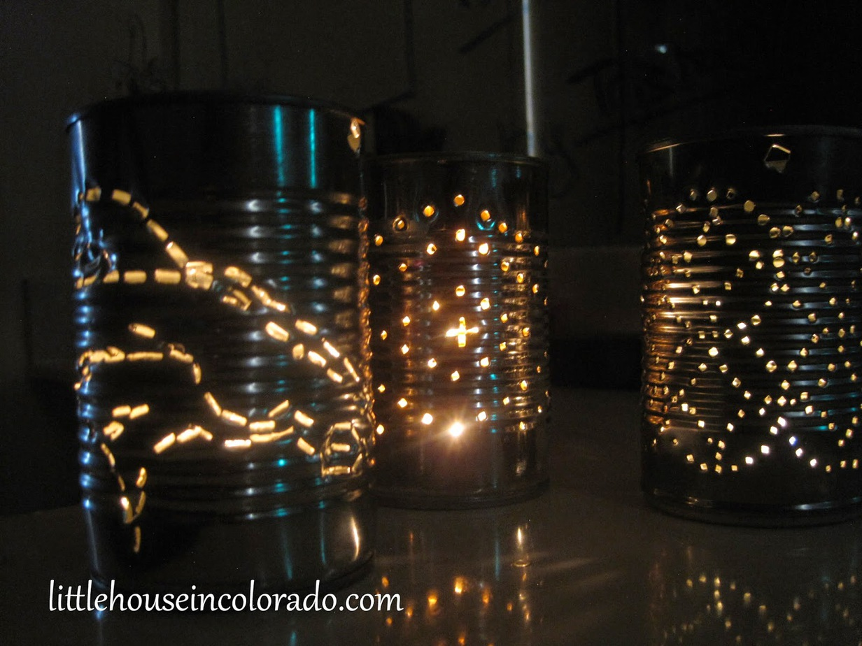 7 Faux tin lamp ideas - Punched tin can lantern - StowAndTellU.com