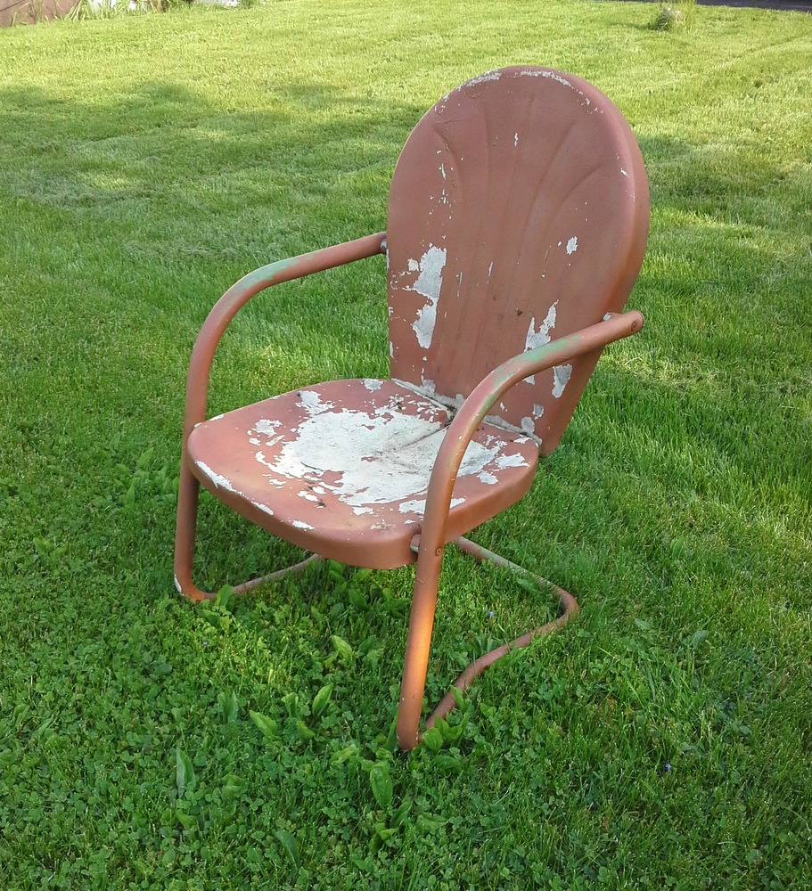 paint vintage shell back metal chair