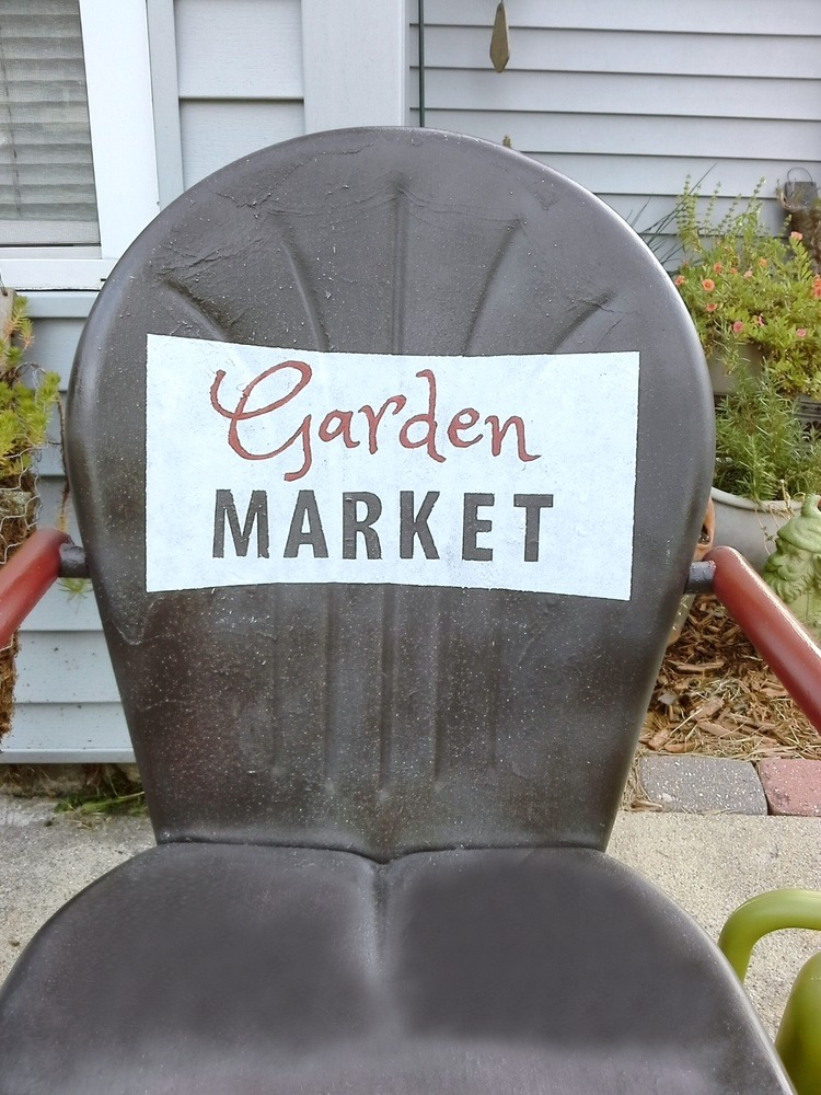 Painted sign shell back metal chair - StowandTellU.com