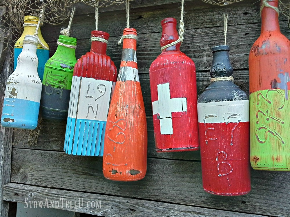 diy lobster-fishing buoy bottles - StowAndTellU.com
