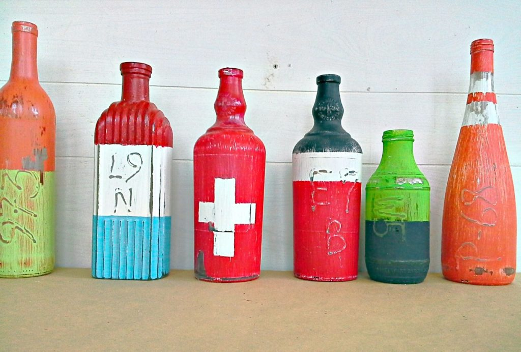 Fake bouys made from bottles - Stow and Tellu