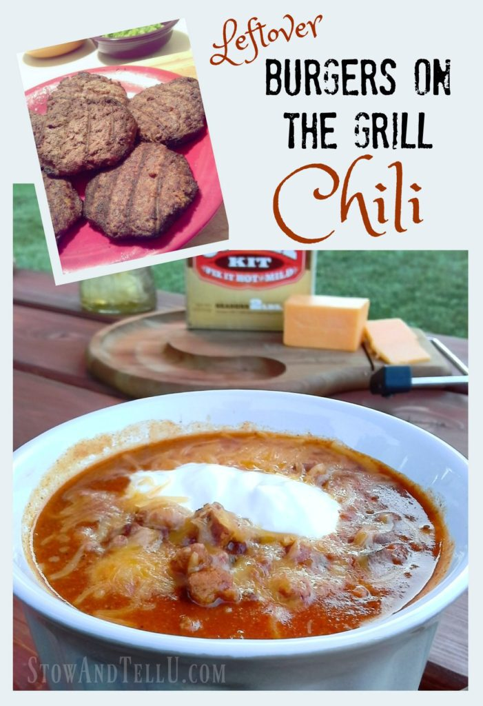 Leftover grilled hamburger chili Tex-Mex Style