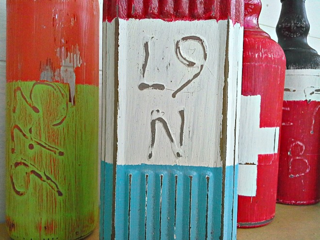 faux lobster buoy bottles