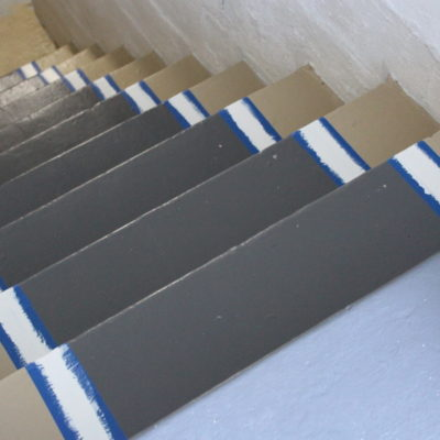 DIY Paint Trimmed Stair Runner and Painting the Entryway Stairway {Week 2}
