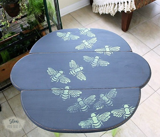 bee-stencil-painted-table
