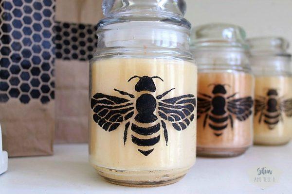 How to make bee stenciled jar candles   Stowandtellu.com