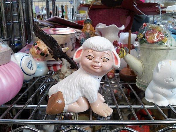 strange-vintage-easter-figurine-lamb-boy-costume