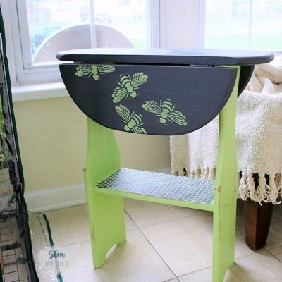 Swarming Honey Bee Stencil Side Table