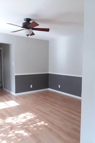 Wall with chair painted SW Repose Gray and Gauntlet Gray