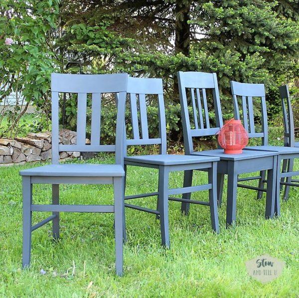 chalky-finish-spray-painted-dining-chair-set | stowandtellu.com