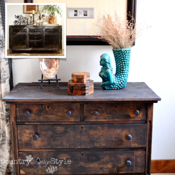 Dark barn wood faux painting effect | Country Design Style | 10 rustic wood paint and stain diy finishes