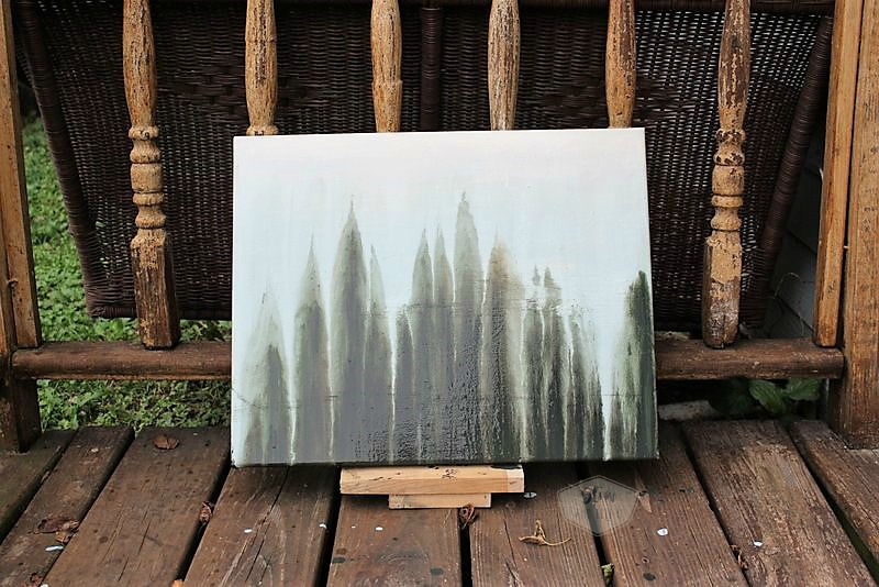 Abstract watercolor forest painting | faux forest drip art painting | stowandtellu.com