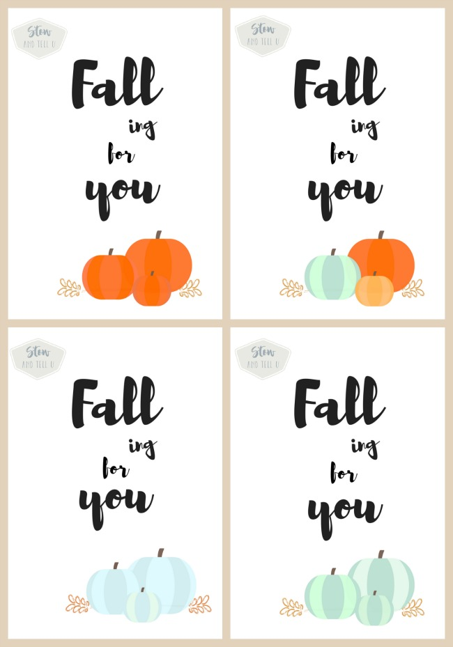 Download this free fall printable with pumpkins and a choice of fall colors. Also choose from leaves and flowers, or plain text | Falling for You fall printable collection | Stowandtellu.com