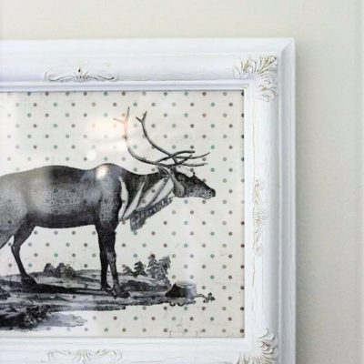 Polka Dot Scrapbook Paper Christmas Reindeer Wall Art