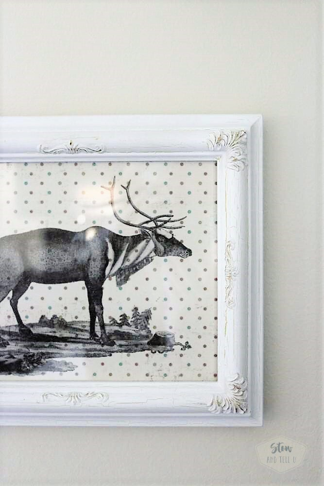 Christmas Reindeer Wall Art on Polka Dot Scrapbook Paper | StowandTellU