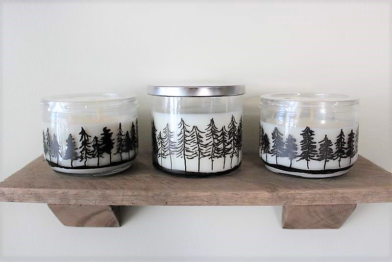 Pine Treeline Drawing Jar Candles | How to make Pine Tree Jar Candles | Cabin decor | Stowandtellu.com