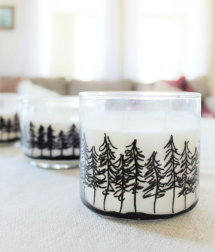 30 Minute Winter Craft | Pine Tree Jar Candles | How to draw a treeline on jar candles | stowandtellu.com