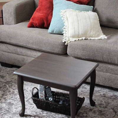 End Table Upcycled as a Small Space Coffee Table