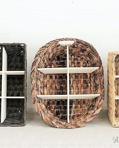 How to Make a DIY Wicker Basket Divider   DIY Divided Basket   stowandtellu