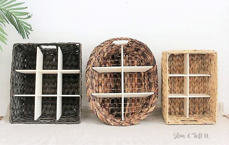 DIY Divided Baskets with Wood Inserts