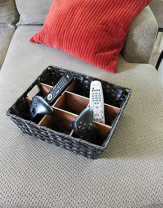 Black Wicker Basket with diy wood divider insert | DIY Remote Control Storage Organizer