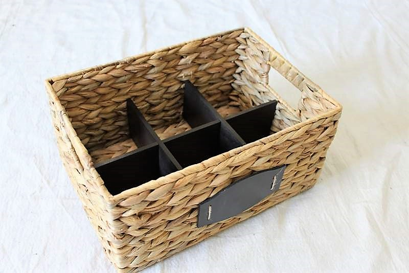 Rattan Basket with painted black basket divider inset | How to Make a Divided Basket