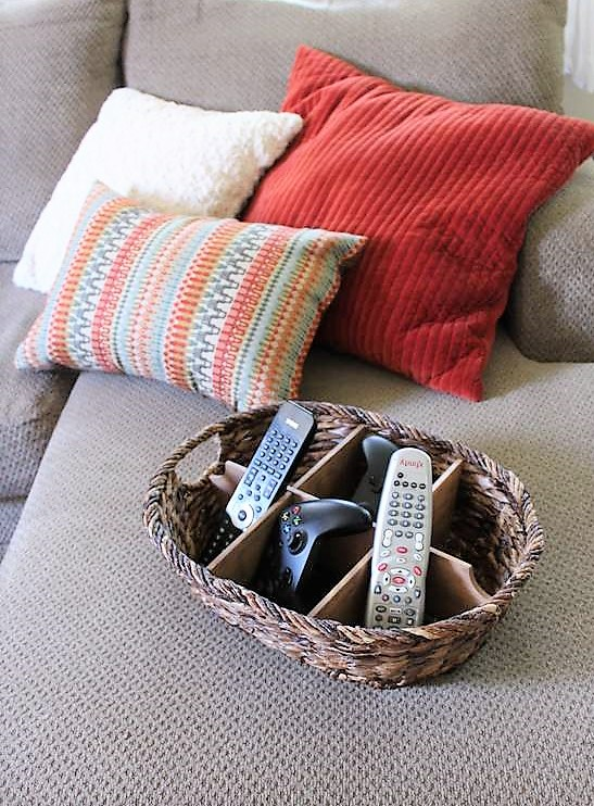 DIY Wicker Basket Divider for Remote Control Storage