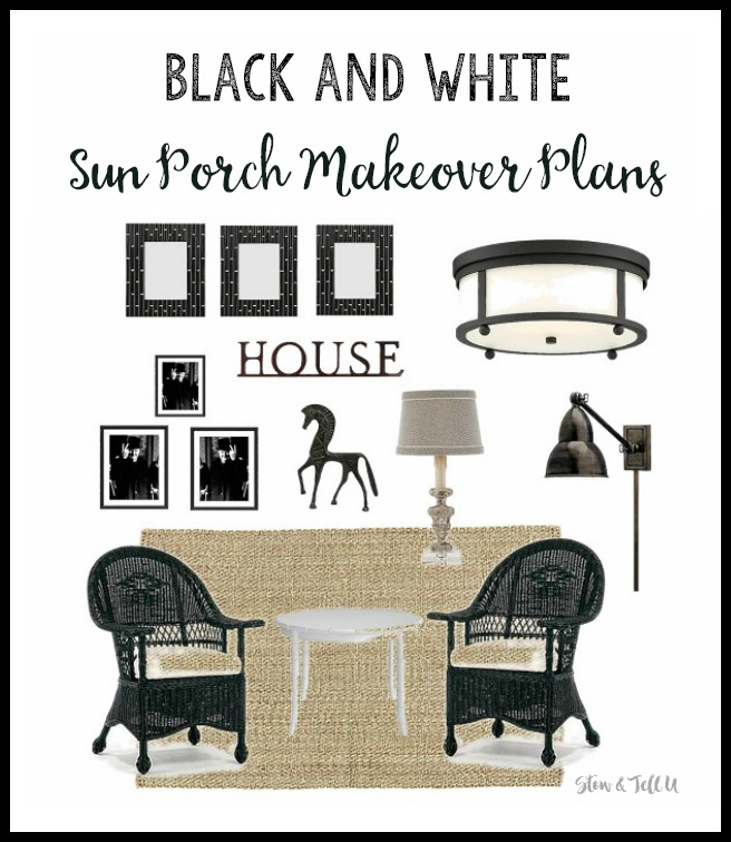 Black and White Sun Room Makeover Plans | StowandTellU