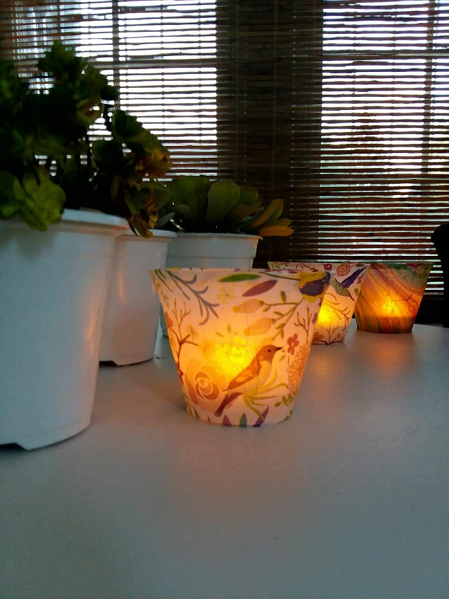 Diy decoupage tissue paper lights | stowandtellu.com
