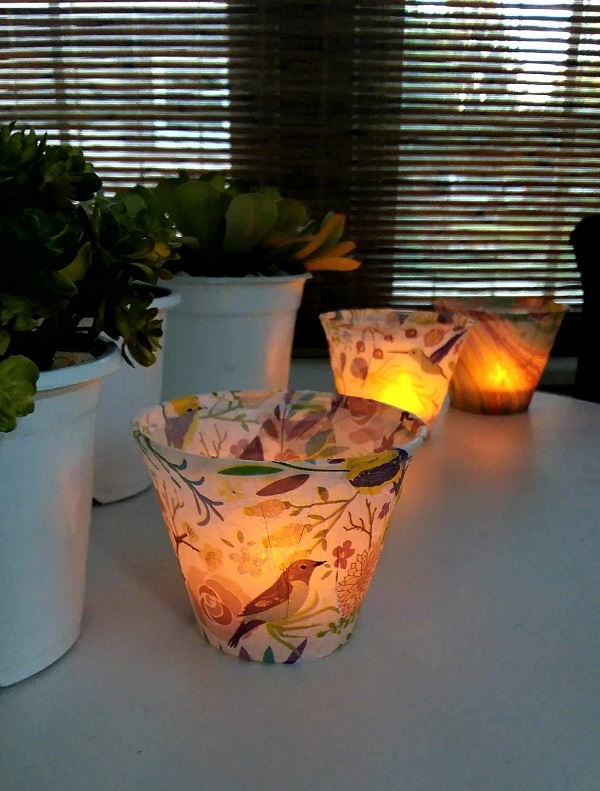 DIY Tissue Paper Lanterns | plastic cups wrapped with tissue paper used with flameless tea lights | stowandtellu.com