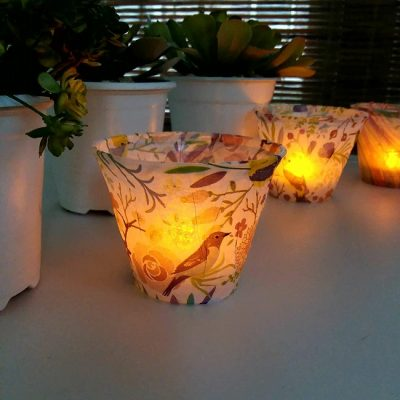 Tissue Paper Lights with Plastic Cups