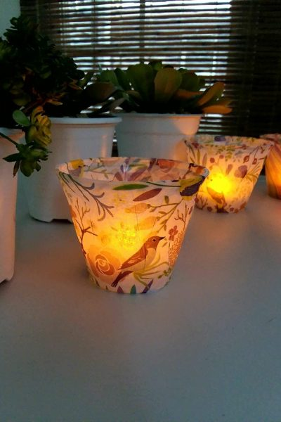 DIY Tissue Paper Light   Plastic cups wrapped with tissue paper to make flameless tea lights   stowandtellu.com