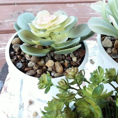 Potting Faux Succulents with DIY Gravel Glue