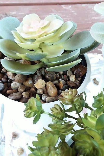 Potting Faux Succulents with DIY Gravel Glue